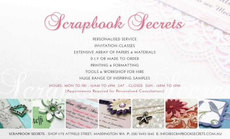 scrapbook secrets scrapbooking wedding invitations With wedding invitation printing services perth